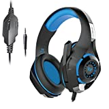 #2: Kotion Each GS410 Headphones with Mic and for PS4, Xbox One, Laptop, PC, iPhone, Android Phones, Tablets, iPad, Samsung, Nexus, LG, Pixel, Oppo, Lenovo, Xiaomi, Sony (Black/Blue) NO LED lights