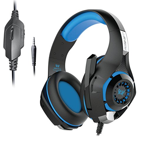 Kotion Each GS410 Headphones with Mic and for PS4, Xbox One, Laptop, PC, iPhone and Android Phones (Black/Blue)