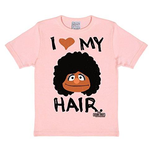 Sesame Street - Segi - I Love My Hair Kids T-Shirt - Childrens Short Sleeve - pink - Licensed original design - High quality - LOGOSHIRT