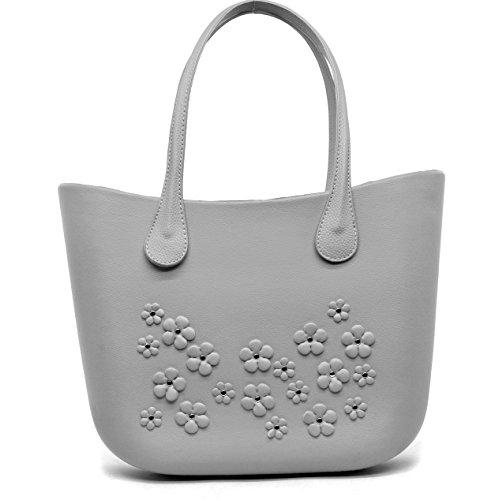 Borsa bag spalla donna fantasia silicone manici sacca scocca completa fiori ricamati borchie (bianco)