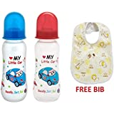 Mee Mee Premium Baby Feeding Bottle, 250ml (3M+) Pack Of 2 (Blue & Red) And Baby Bib Free