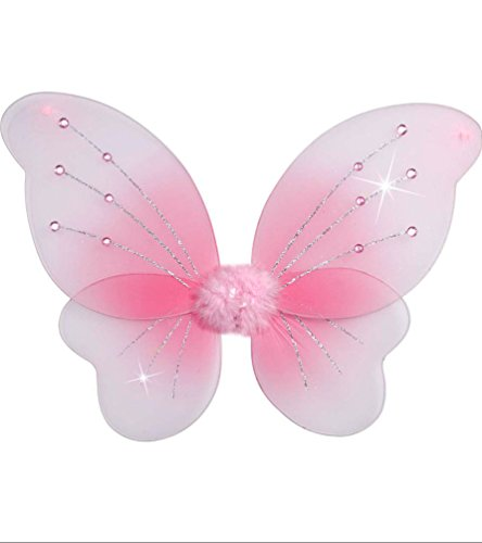 Karneval Klamotten Kostüm Flügel rosa mit Glitter Fasching Karneval