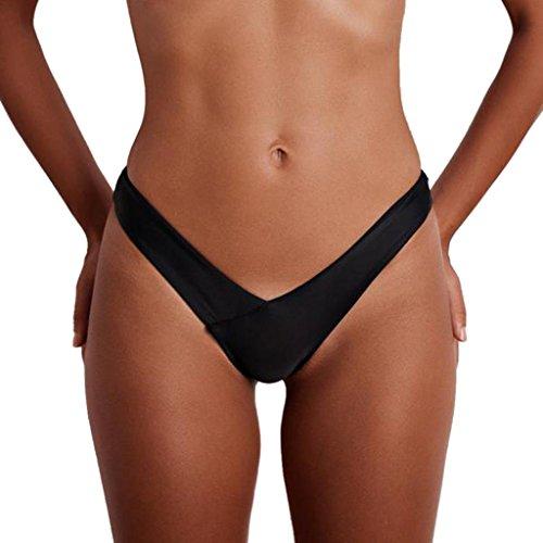 FEITONG Bikini String Damen Tanga Bikinihose String Rüschen Brazilian Bikini Slip Höschen Frau Bandeau Badeanzug Shorts Frauen Bikini-Sets Bottom Mädchen Bademode (S, Schwarz) - Rüschen Tanga-shorts