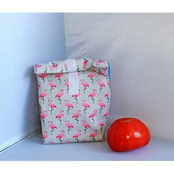 Lunchbag Flamingos, mit Lebensmittelfreundlichem Innenfutter, Handmade