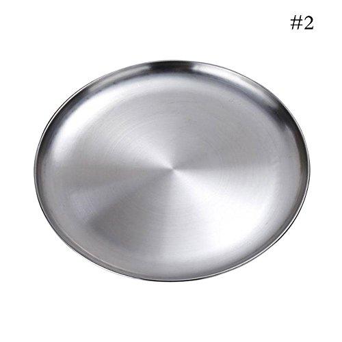 Golden Lank Food Plate Edelstahl Teller Braten Abendessen Teller BBQ Picnic Plate (26CM)