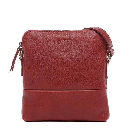 BACCINI Schultertasche echt Leder Milla klein Handtasche Schultergurt Umhängetasche Ledertasche Damen rot