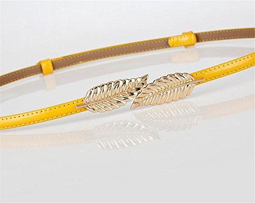 Cinturón amarillo para mujer con elegante hebilla metálica