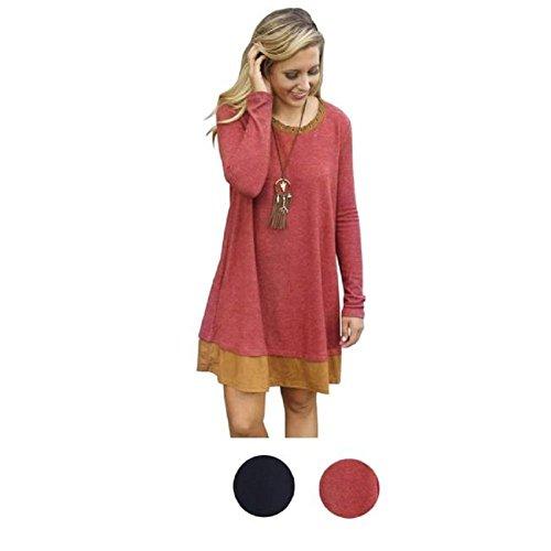 FEITONG Casual et personnalité lâche et confortable robe à manches longues Rouge