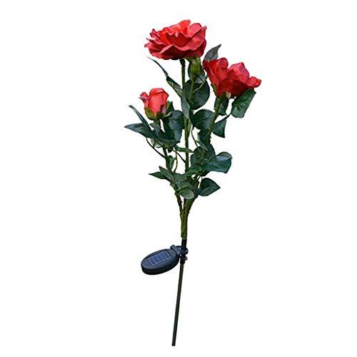 Rose Blumen Gartenlampe Solar Gartenstecker der Hingucker Außenleuchte mit Erdspieß, wunderschöne Rose Beleuchtung - rot