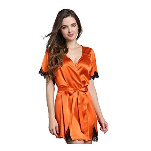 Femmina primavera e estate 100% seta pura pigiama camicia da notte accappatoio within temptation sexy pizzo seta pigiama tuta sportiva, m
