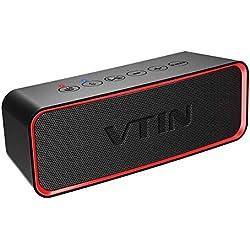 Vtin R2 Enceinte Bluetooth Portable, 24 Heures Enceinte Bluetooth avec Basses+ Riches, 14W Haut-Parleur, Etanche IPX6, Bluetooth 4.2, Mains Libres Téléphone, Micro Intégré Haut-Parleur sans Fil(Nior)