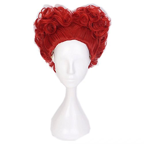 (COSPLAZA Perücke Short Curly Wave Anime Styled Red Heart Girls Theme Party Cosplay Wigs)