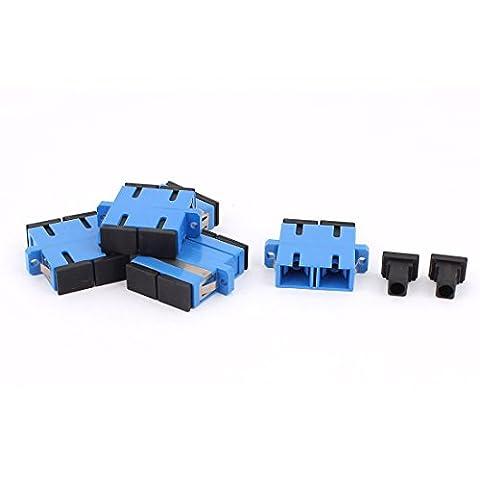 sourcingmap® 5Pcs SM SC-SC UPC DuplexFiber optiquebride connecteuradaptateurcoupleur bleu