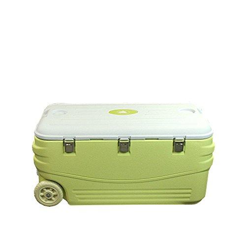 10T Kühlbox Fridgo 100L passive Thermobox PU Kühlbehälter warm / kalt XXL Isolierbox auf Rollen Grün