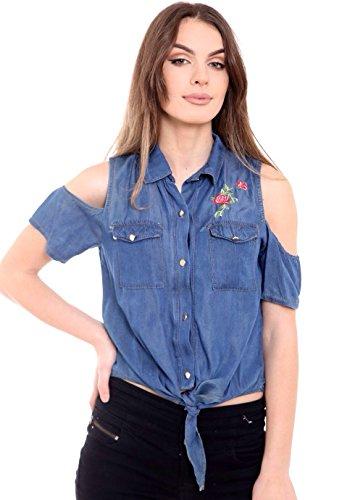 SugerDiva femmes dames Denim Floral Broderie Cutshoulder Tie Shirt Dark Denim