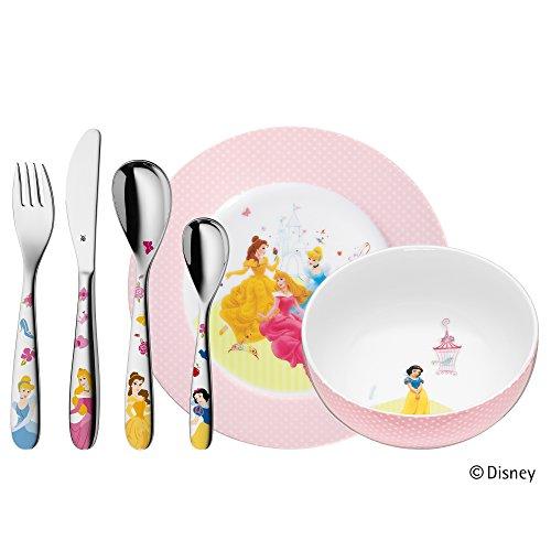 WMF Disney Princess Kindergeschirr, mit Kinderbesteck, 6-teilig, ab 3 Jahren, Cromargan Edelstahl poliert, spülmaschinengeeignet, farb- und lebensmittelecht