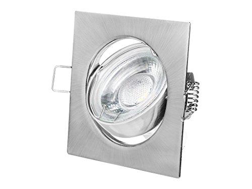 Faretto ad Incasso Led 6 Pezzi Confezione GU10 3W Bianco Caldo 230V 60 LEDs Lampadine Montaggio Telaio Faretti ad Incasso, 6 Pezzi Illuminazione ad Incasso (Cromato Satinato Angolare)