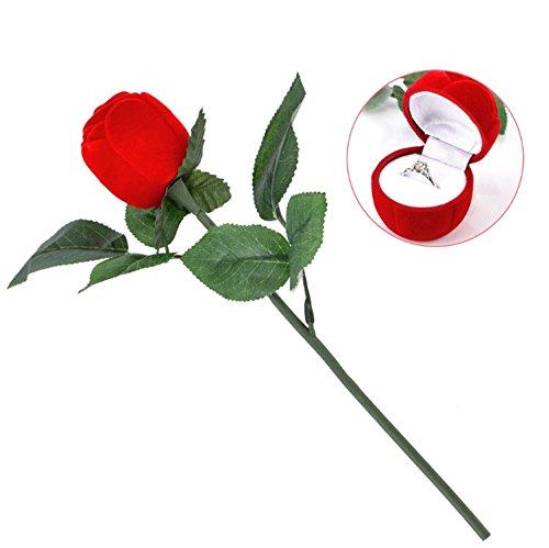 Yosoo Ringschatulle Rose Kopf mit Lange Stiel Langstielige Blume Schmuckschachtel Ringetuis Ringbox Ringschachtel Verpackung für Hochzeit Ringe / Valentinstag / Verlobungsring (4 Stück) (Lange 1 Box)
