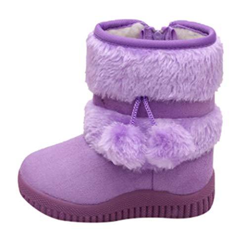 HDUFGJ Winter Kinder Stiefel Schlupfstiefel Warm halten rutschfest Baumwollschuhe Mädchen Jungen32 EU(Lila)