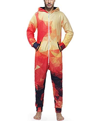 FEOYA Mono de una Sola Pieza para Adultos, Pijama de Talla Grande, enterito con Capucha para Hombre, Disfraz de Halloween, otoño, con Cremallera Completa Color 4 XL