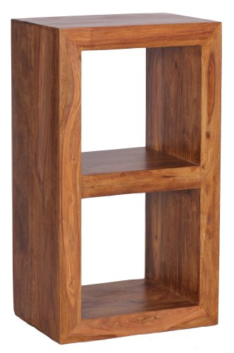 Landhaus-stil-wohnzimmer-möbel (Wohnling Standregal Massivholz Sheesham 88 cm hoch 2 Böden Design Holz-Regal Naturprodukt Beistelltisch Landhaus-Stil Wohnzimmer-Möbel Unikat Echtholz Couchtisch viereckig Anstelltisch dunkel-braun)