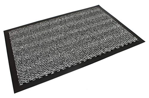 homestuff4you Fußmatte Rutschfest - Türvorleger & Schmutzabstreifer in Grau bleibt der Schmutz draußen und das Zuhause sauber (Grau, 40 x 60 cm)
