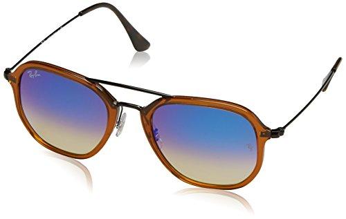 RAYBAN JUNIOR Unisex-Erwachsene Sonnenbrille RB4273, Shiny Transparent Brown/Blueflashgradient, 52