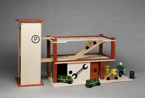 Rülke Holzspielzeug 23166 Parkhaus mit Garage, rot (Holzspielzeug Parkhaus)