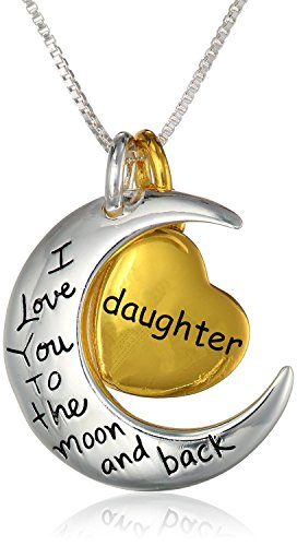 "Gold Sterling Silber mit Gelb hauchvergoldete Herz""MUTTER/Oma I Love You To The Moon And Back"" Anhänger Halskette, 45,7 cm"