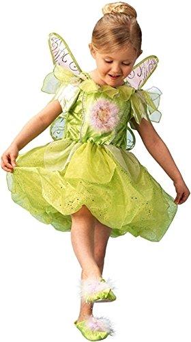 Platin Deluxe Mädchen Disney Tinkerbell Peter Pan FEE mit Flügeln & Pantoffeln büchertag Woche Halloween Kostüm Kleid Outfit - Grün, Grün, 7-8 ()