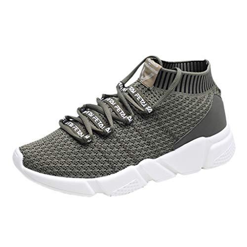 Yvelands Herren Sneakers Mode Letter Elastic Running Sport Flache Knöchel Turnschuhe Runde Schuhe Bergsteigen ()