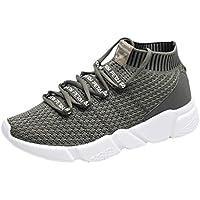 Kinlene Carta de Moda para Hombre Elástico Correr Deporte Zapatillas de Deporte Planas del Tobillo Zapatos de Punta Redonda