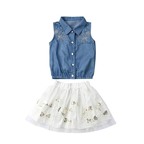 YWLINK Kleinkind Scherzt Baby MäDchen ÄRmellos Stickerei Denim T-Shirt Tops Kleidung + Mesh Pailletten Skater Rock Party Hochzeit Urlaub Strand Outfits Set(Blau,120)