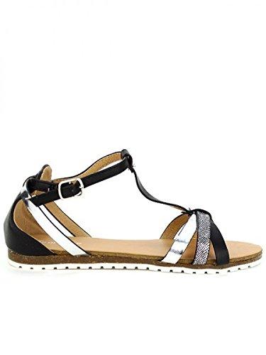 Cendriyon, Sandale Noire FDM Chaussures Femme Noir