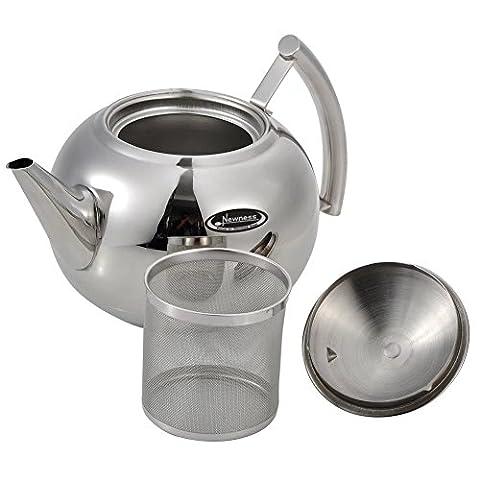 Tea Pot [Petite, 1.0litre (992,2gram)], Newness Théière en acier inoxydable poli avec couvercle, bouilloire à thé pour la maison, Théière avec filtre à thé