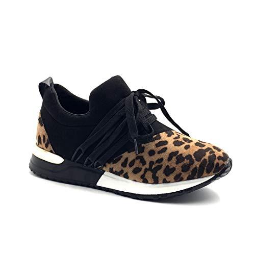 Angkorly - Zapatillas Moda Deportivos Deportivos Plataforma Tennis Planos Streetwear Mujer Estrás Glitter Leopardo tacón Plano 3 CM - Leopardo BK8 T 40