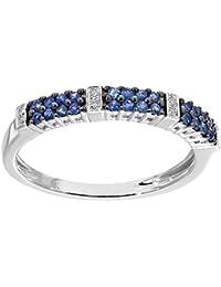 Naava 9 Karat (375) Weißgold 0,25 Kt Saphir Blau Diamant Eternity