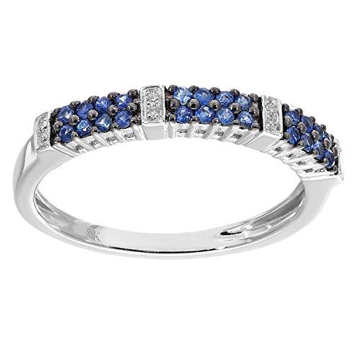 Naava anillos Mujer oro blanco 9 k (375) zafiro redondo