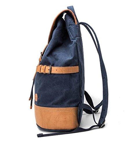 Leinwand Rucksäcke Freizeit Rucksäcke Vintage Reisetaschen Schultaschen Blue