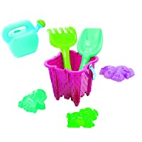 7 pcs Castle Beach Bucket Set PINK Sand Water Bath Kids Child Gift Plastic Build Toys Spade Scoop Watering Can Sand Moulds Tools Play Garden Sandpit Toy