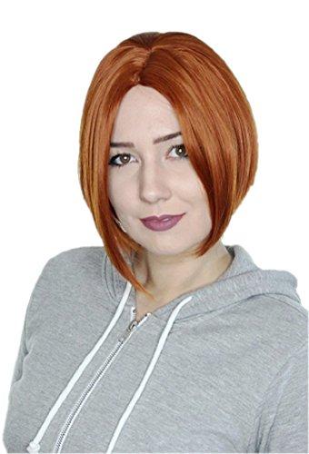 Prettyland C457 - Bob Kurze Perücke Mittelscheitel Frisuren Trend Wig - Kupferrot orange