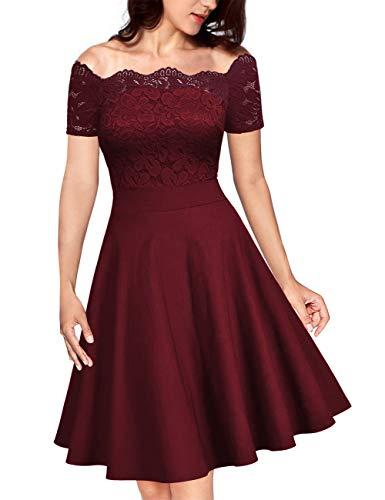 KOJOOIN Damen Vintage 1950er Spitzen Cocktailkleid Brautjungfernkleider für Hochzeit Kurze Abendkleider Weinrot (Off Schulter) XXL/48