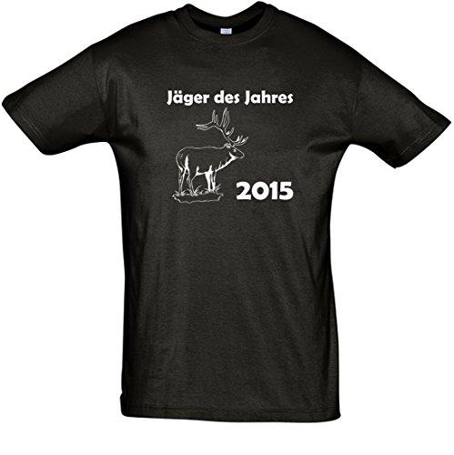 T-Shirt Fun-T-Shirt Jäger des Jahres bedruckt mit Folie Schwarz