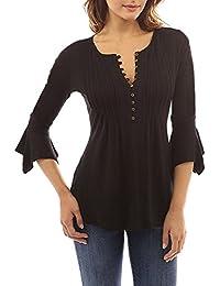 1f6573ccf5cb21 Minetom Donna Casuale Elegante Maglietta Manica Tunica Bottone Camicia  Manica 3/4 a Foglia di
