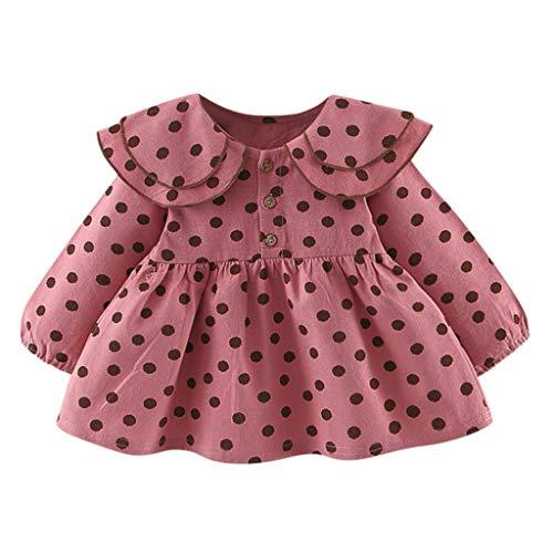 z-/uiefr Säuglingsbaby Lange Hülsen Rüsche Punkt Druck kleidet Kleid Langärmeliges Puppenkragen Rockkleid mit Tupfenmuster für Kinder (Pink, 9/L) - Leder-stirnband-spitze Verziert