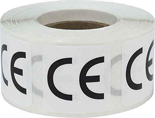 Blanco Cuadrado con Negro CE Conformidad Europea Conformité Européenne Marcando Pegatinas, 25 mm 1 Pulgada Cuadrado, 500 Etiquetas en un Rollo