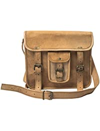 Anshika International Original Leather Vertical Sling Bag With Front Pocket Brown 9 X 11 X 3 Inches