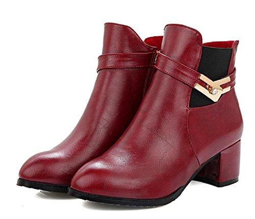 Autunno e inverno stivali con basso - stivali con tacco stivali tempo libero Martin red