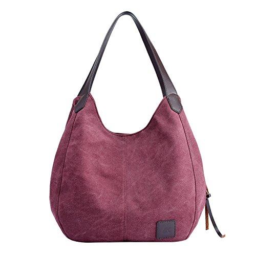 PB-SOAR Damen Mädchen Modern Canvas Shopper Schultertasche Handtasche Henkeltasche Hobo Bag Beuteltasche (Fuchsie)