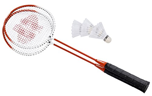 T662X DONNAY Federballspiel Metall 2 Schläger und 3 Federball Badminton D5 (Orange)